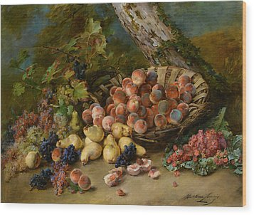 Still Life With Fruits Wood Print by Madeleine Jeanne Lemaire