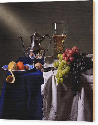 Still Life With Roemer And Silver Tea Pot Wood Print by Levin Rodriguez
