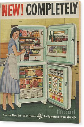 Stor-mor  1950s Uk Fridges Freezers Wood Print by The Advertising Archives