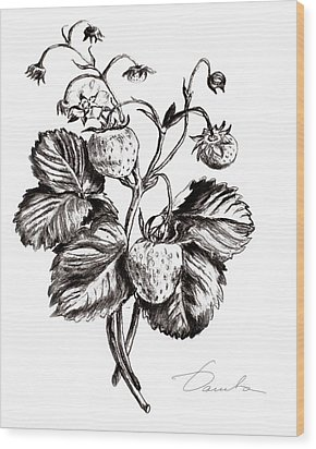 Strawberries Wood Print by Danuta Bennett