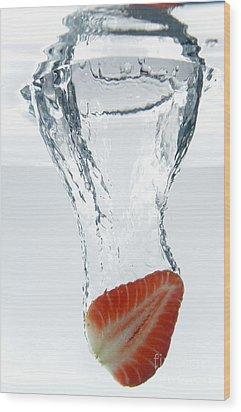 Strawberry Fruit Splashing Underwater Wood Print by Sami Sarkis