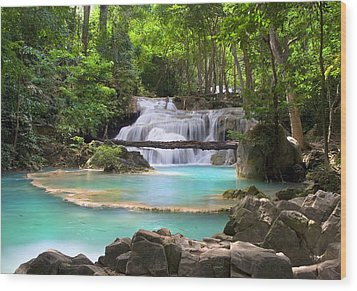 Stream With Waterfall In Tropical Forest Wood Print