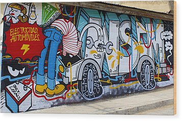 Street Art Valparaiso Chile 15 Wood Print by Kurt Van Wagner