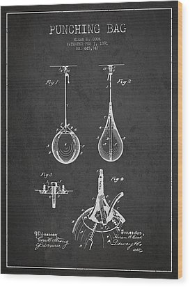 Striking Bag Patent Drawing From1891 Wood Print by Aged Pixel