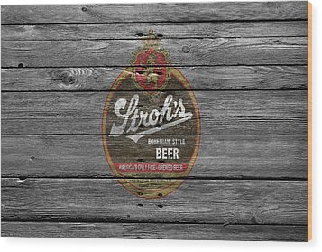 Strohs Beer Wood Print by Joe Hamilton