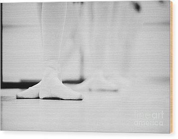 Students With Feet In The Third Position At A Ballet School In The Uk Wood Print by Joe Fox