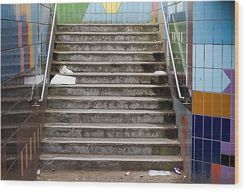 Subway Stairs Wood Print by Fizzy Image
