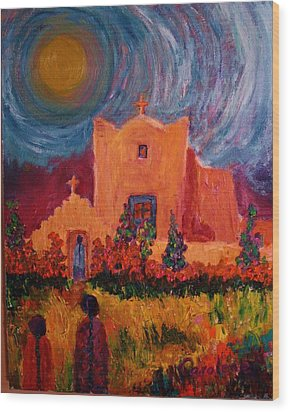 Sunday Morning In New Mexico Wood Print by Carolene Of Taos