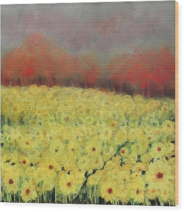 Wood Print featuring the painting Sunflower Days by Katie Black