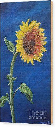 Sunflower In The Light Wood Print
