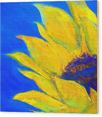 Sunflower In Blue Wood Print