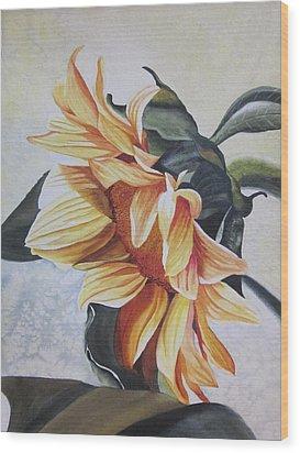 Sunflower Wood Print by Teresa Beyer