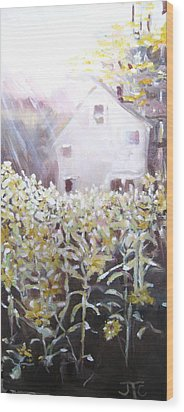 Wood Print featuring the painting Sunflowers by Julie Todd-Cundiff