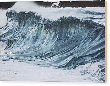 Sunlit Wave Wood Print by Vince Cavataio