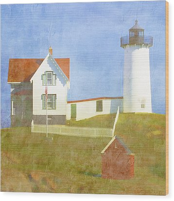Sunny Day At Nubble Lighthouse Wood Print by Carol Leigh