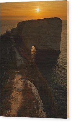 Sunrise At Old Harry Rocks Wood Print by Ian Middleton