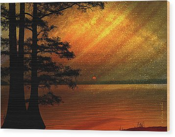 Wood Print featuring the digital art Sunrise At Reelfoot Lake by J Larry Walker