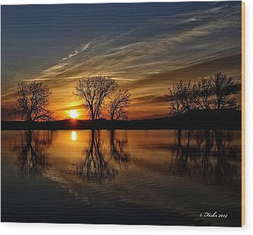 Sunrise At The Fishing Hole Wood Print by Fiskr Larsen