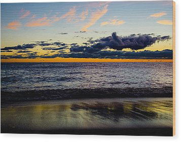 Wood Print featuring the photograph Sunrise Lake Michigan September 14th 2013 001 by Michael  Bennett