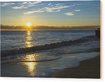 Sunrise Lake Michigan September 14th 2013 040 Wood Print by Michael  Bennett