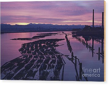 Sunrise Lumber Mill Wood Print