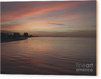 Wood Print featuring the photograph Sunrise Over Fort Myers Beach Photo by Meg Rousher