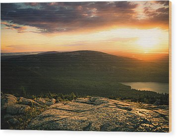 Sunset Acadia National Park Maine Wood Print