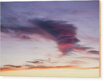 Sunset And Clouds Red Sensations. Wood Print by Stefano Piccini