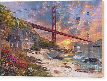 Sunset At Golden Gate Wood Print by Dominic Davison