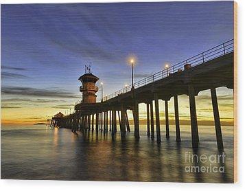 Sunset At Huntington Beach Pier  Wood Print
