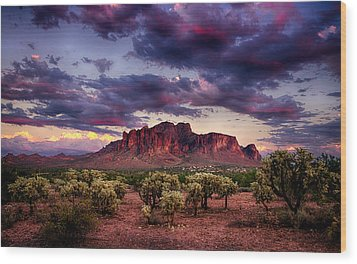Sunset At The Superstitions  Wood Print