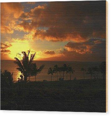Sunset On Maui Wood Print