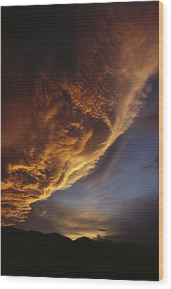 Sunset On Storm Clouds Near Mt Cook Wood Print by Ian Whitehouse