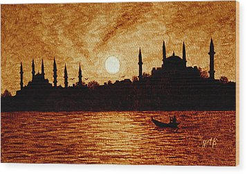 Sunset Over Istanbul Original Coffee Painting Wood Print by Georgeta  Blanaru