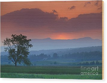 Sunset Over Mt. Mansfield In Stowe Vermont Wood Print by Don Landwehrle