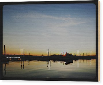Sunset Over The Marina. Wood Print