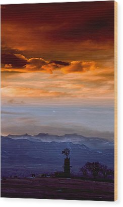 Wood Print featuring the photograph Sunset Over The Rockies by Kristal Kraft