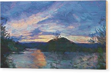 Sunset Pano - Watauga Lake Wood Print