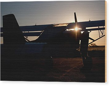 Sunset Plane Wood Print by Paul Job