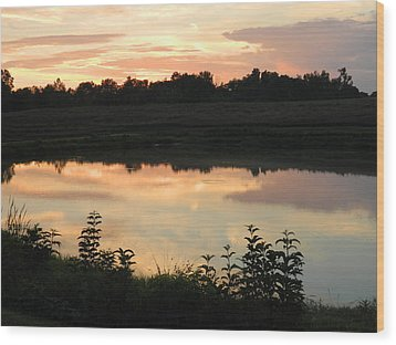 Sunset Reflection Wood Print by Linda Brown