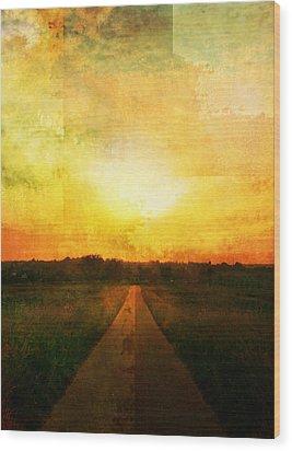 Sunset Road Wood Print by Brett Pfister