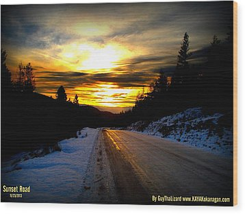 Sunset Road Wood Print by Guy Hoffman