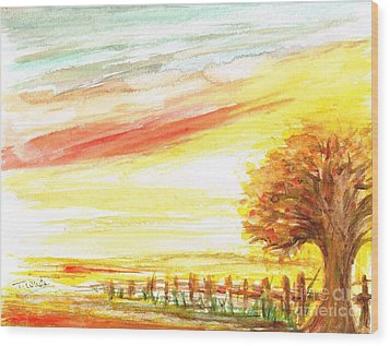 Wood Print featuring the painting Sunset by Teresa White