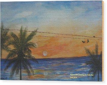 Sunset Wood Print by Usha Rai