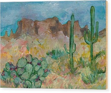 Wood Print featuring the painting Superstition Mountains Arizona by Elaine Elliott