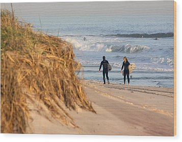 Surfers At Beach Westhampton New York Wood Print
