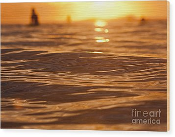 Wood Print featuring the photograph Surfers Sunset by Paul Topp