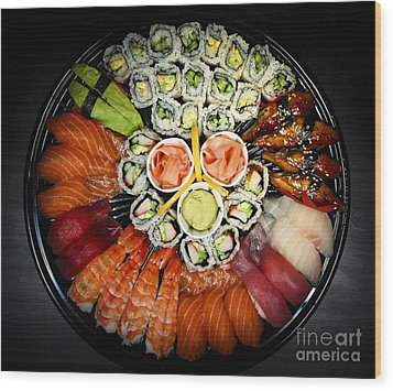 Sushi Party Tray Wood Print by Elena Elisseeva