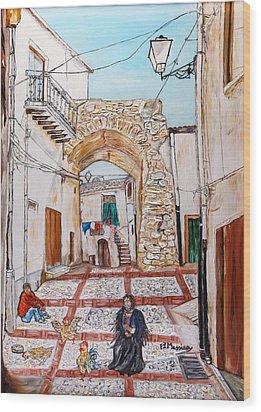 Wood Print featuring the painting Sutera Rabato Antico by Loredana Messina