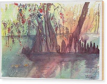 Swamplight Wood Print